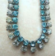 Vintage Blue And White Rhinestone Collar Necklace.